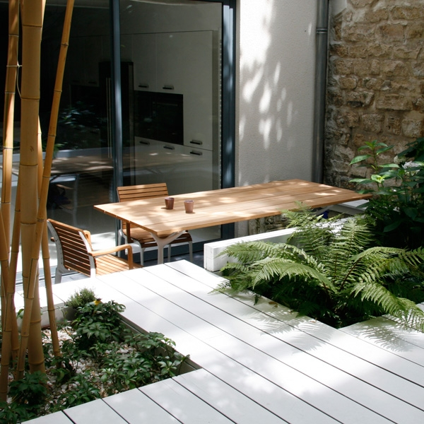 D couvrir l 39 endroit du d cor patio sur deux niveaux for Amenagement patio terrasse
